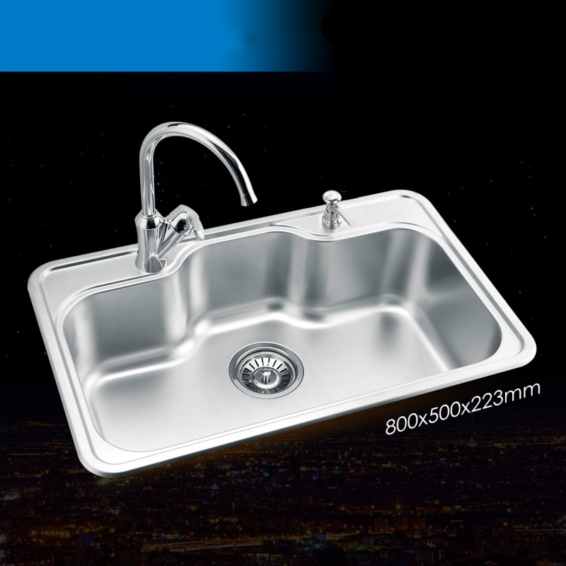 Free shipping luxurious kitchen single trough sink whole drawing free shipping luxurious kitchen single trough sink whole drawing durable standard food grade stainless steel hot sell 80x50 cm in kitchen sinks from home workwithnaturefo