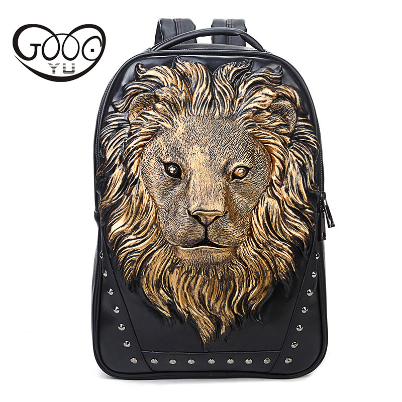 GOOG.YU leather backpacks men 3D stereo lion head tide cool Unique relief laptop backpack Retractable handle animal duffle bag
