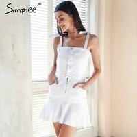 Simplee Strap Zipper Denim Dress Women Ruffle Button White Dress Jeans Female Streetwear Elastic Short Summer