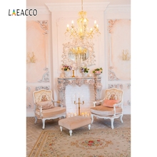 Laeacco Palace Interior Curtain Flower Candle Portrait Photography Background Customized Photographic Backdrops For Photo Studio