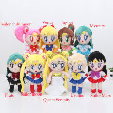 9styl Sailor Moon Queen Serenity Sailor Chinbi moon Venus Jupiter Mercury uran Pluto Mars pluszowe lalki 20-22cm(China)