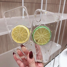Fresh Lemon Epoxy Phone Case For iPhone XS XR Max X 6 6S 7 8 Plus Summer Fruit Transparent TPU Back Cover Cases New