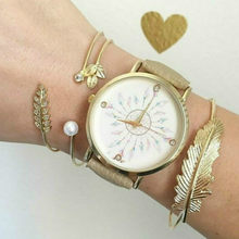 (None Watch) 11.11 HOT White Bead Peacock Cuff Bracelets Simple Geometric Leaf Knot Metal Bohemian Retro Bracelet Jewelry(China)