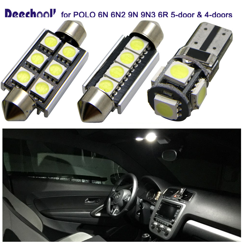 Polo5 Polo Hatchback 5 Door 5th Generation Polo: Deechooll 10x Car LED Bulbs For Volkswagen POLO,Auto