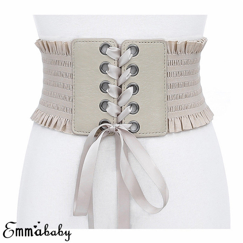 Feamos Women Faux Leather Belt Floral Lace Up WaistBand For Dresses Boho Gift