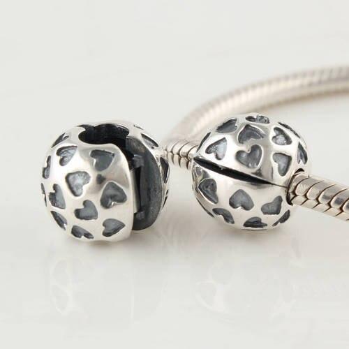 100% 925 Reinem Silber Clip Und Verschluss Charms Liebe Herz Silber Beads Passend Für Armband Mode Diy Machen Ckk