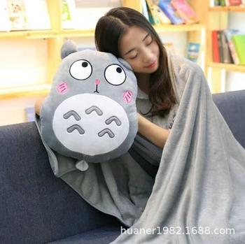 Cartoon My Neighbor Totoro pillow with Warm hand include blanket Soft totoro Stuffed Toys Christmas gift