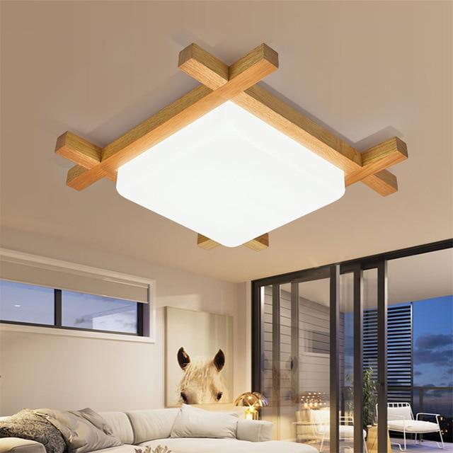 Moderna breve camera da letto Giapponese quare legno LED lampada da ...