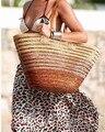 New Hot Mulheres Bolsas De Palha Verão Tecido bolsa de Praia bolsa de Ombro Totes Sacos de Compras de Moda Bolsa de Palha Bolsa de Praia Bolsa de Viagem