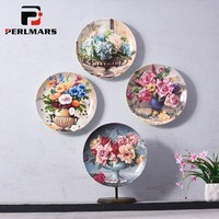 10 inch Beautiful Flowers Pattern Ceramic Porcelain Wall Hanging Round Plate Office Living Room Wall Decor Home Ornaments Crafts