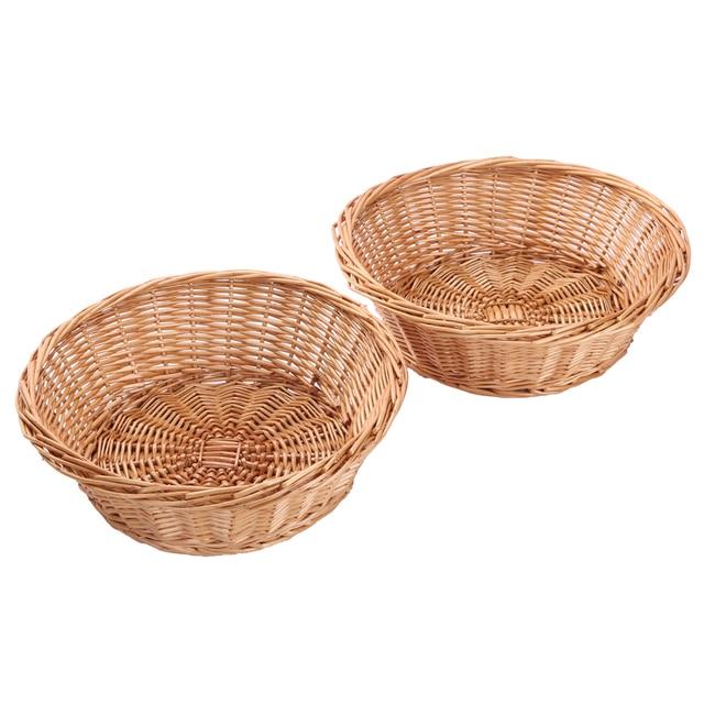 Kingwillow, Wicker Basket Fruit Basket Bread Tray Storage Basket, Fruit  Bowl, Round Stackable