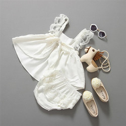 2017 New Baby Girl Clothes Summer Sunsuit Backless Princess Dress + pants Brief Set Infant Outfit toddler girl clothing