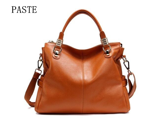 ФОТО Newest Candy Colors Handbags for Women First Layer Genuine Cow Leather Fashion All-match Lady Tote Messenger Bags bolsos 0951
