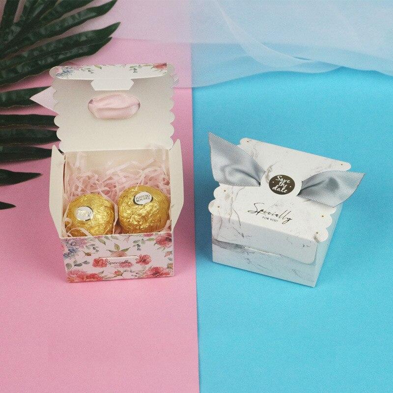 2019 50 pcs Creative haut de gamme fleur boîte faveurs de mariage cadeau boîte paquet fête d'anniversaire cadeau sac papier sacs bonbons boîte emballage - 6