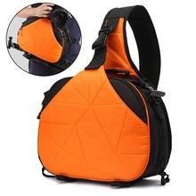 DSLR Camera Triangle Sling Shoulder Cross Body Waterproof Soft Padded Men Women Bag Black Orange Case for Canon Nikon Sony SLR