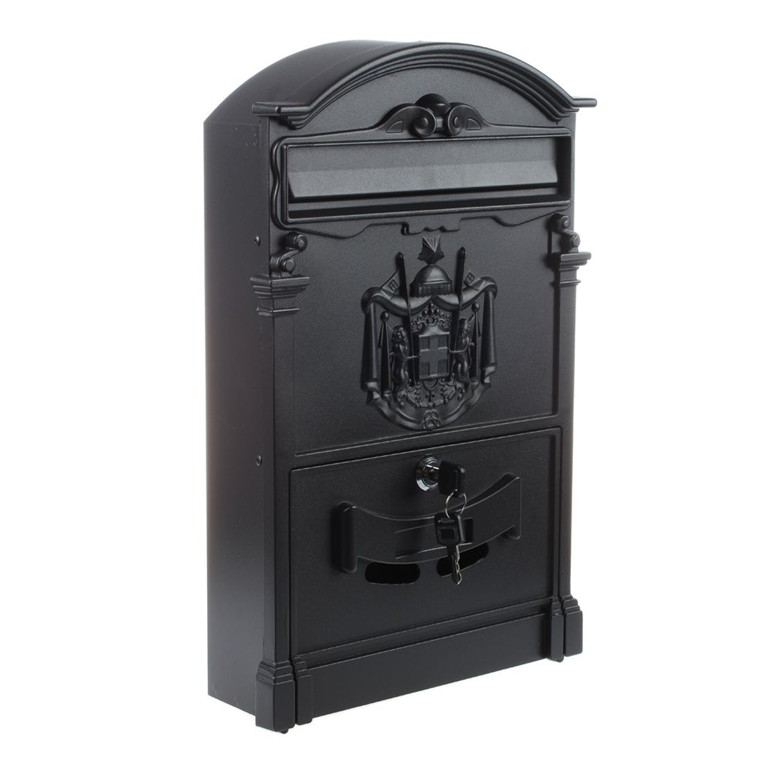 Heavy Duty Black Aluminium Lockable Secure Mail Newspaper Letter Post Box Letterbox New