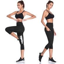 Женские облегающие брюки Капри с высокой талией леггинсы карманами