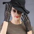 Lady hora do show festa miss outono mulheres rendas quente vestido combinando couro opera luvas de realizar