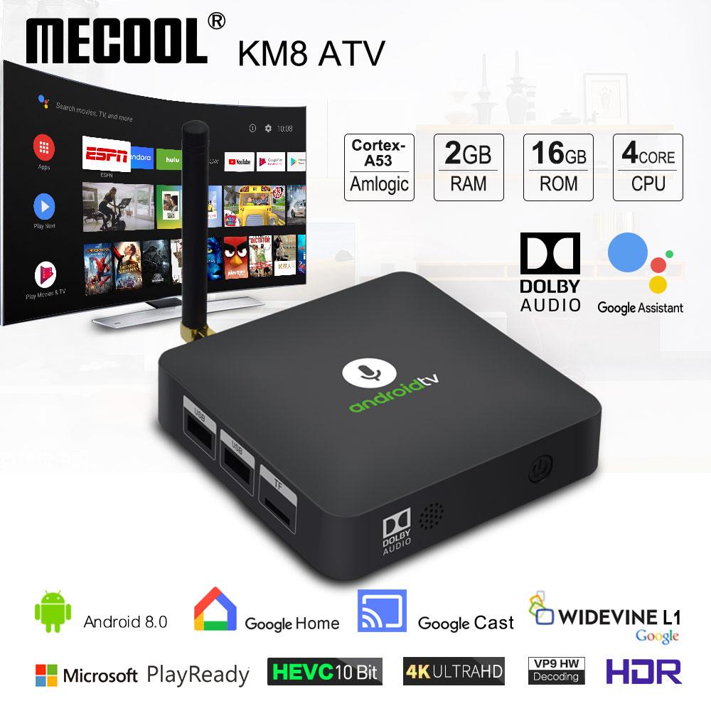 MECOOL Android Tv KM8 ATV Google Voice Control Smart TV Android 8.0 Amlogic S905X 2GB DDR3 16GB TV BOX Bluetooth 4.2 Set-Top Box
