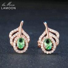 LAMOON Classique Feuille 100% Naturel Ovale Vert Péridot 925 Bijoux En Argent Sterling Rose Or Plaqué S925 Boucles D'oreilles LMEI021