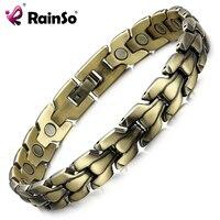 RainSo Men S Bronze Magnetic Bracelet Fashion Luxury Top Quality Health Jewelry Bio Energy Bracelets Bangles