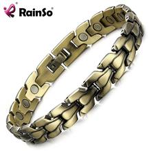 RainSo męska brązowa bransoletka magnetyczna moda luksusowa tarcza jakość zdrowie biżuteria bransoletki bioenergetyczna bransoletki szlachetne opaski tanie tanio Hologram bransoletki Mężczyźni Miedzi TRENDY Metal Link łańcucha Wszystko kompatybilny GEOMETRIC Other OCB-900 Napięcie ustawianie