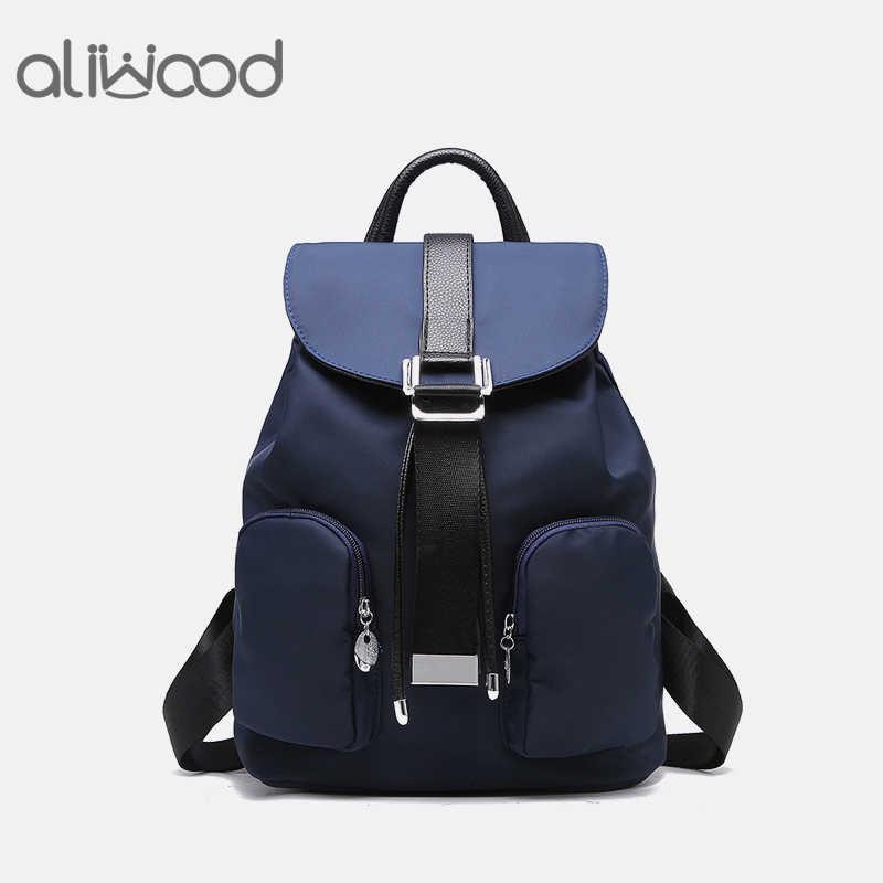 01b40282c8a2 Aliwood Women s Backpacks High Quality Waterproof Nylon Leather Backpack  Elegant Designer Rucksack School Bags Travel Mochilas