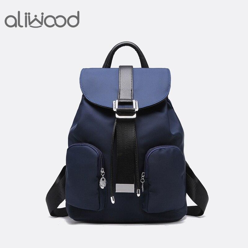 Aliwood Women&#8217;s Backpacks High Quality Waterproof Nylon Leather Backpack Elegant Designer Rucksack School <font><b>Bags</b></font> Travel Mochilas