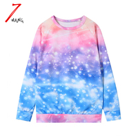 2016 New Atumn Women Fashion Punk Starry Sky Galaxy Printing Sweatshirts O Neck Harajuku Gradient Color