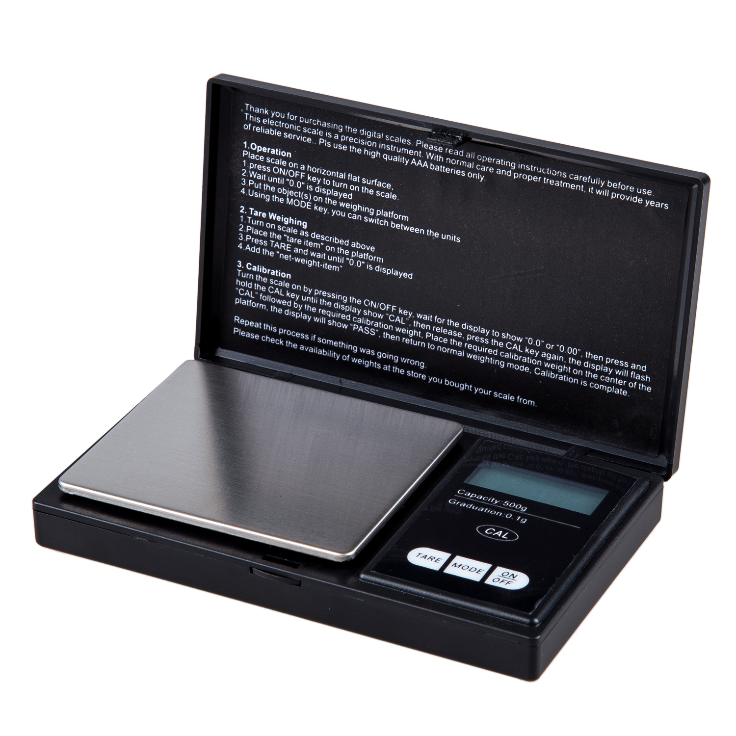 500g Pocket Scales with Calibration Weight for Gold Gems Jewelry Weighing 0.1g