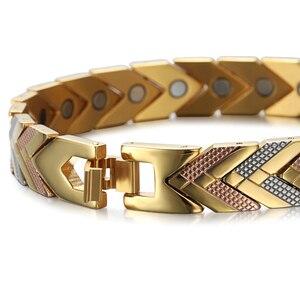 Image 3 - Rainso zdrowie bransoletka magnetyczna bransoletka dla kobiet gorąca sprzedaż bioenergetyczna bransoletka ze stali nierdzewnej złota biżuteria 2020