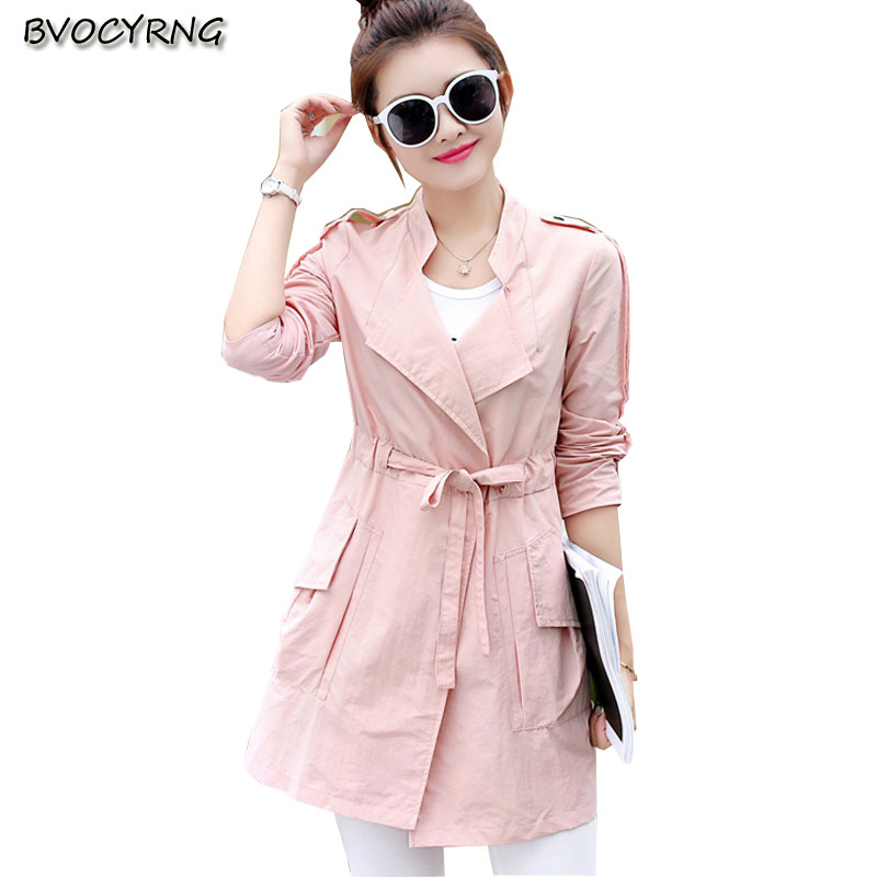 2017New Fashion Medium Long Leisure Big Yards Women Spring Autumn Coat Pure Color Stand  ...