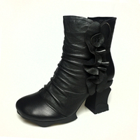 2016 Fall And Winter Handmade Genuine Leather Boots Waterproof High Heels And Thick Heels Flower Retro