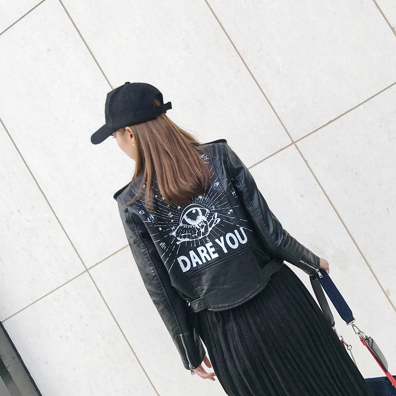 009963c9bb09a 2019 Punk Style Women S Clothing Graffiti Faux PU Leather Moto Biker ...