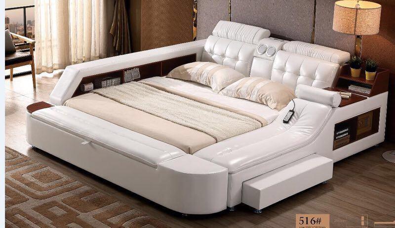 Bed-Frame Speaker Massager-Storage Soft-Beds Bedroom Genuine-Leather Cama Safe Led-Light