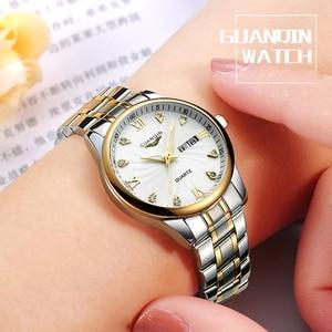 Image 5 - GUANQIN Fashion Couple Watch Set Stainless Steel Men Women lovers Watch Luxury Blue Quartz Watch Women Clock Ladies Wrist Watch