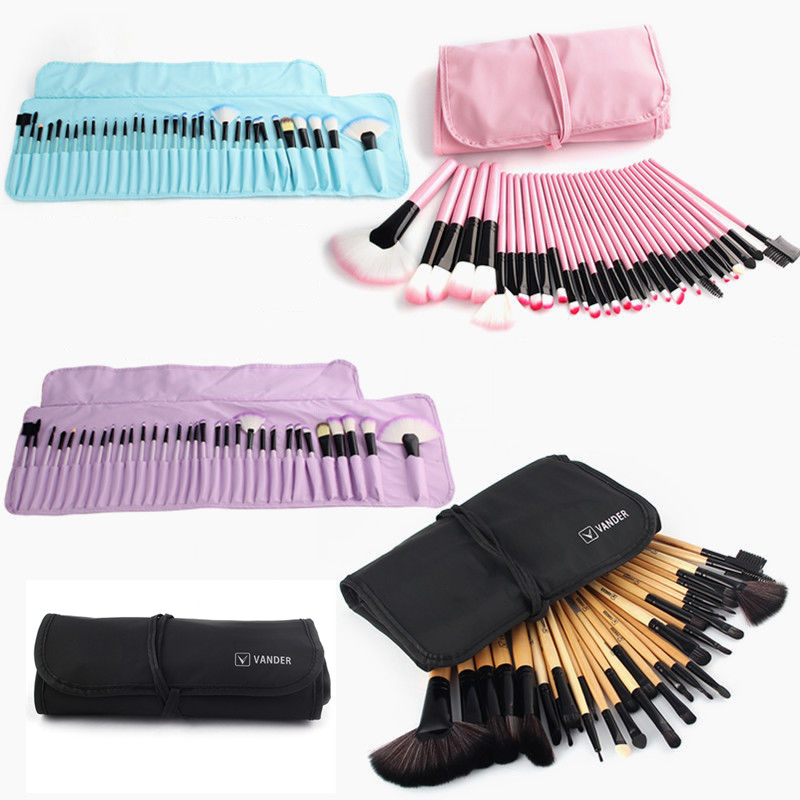 VANDER 32pc Makeup Brushes Set Pro Cosmetic Brush Eyebrow Foundation Shadows Eyeliner Lip Kabuki Make Up Tools Kits & Pouch Bag 1 4pcs cosmetic makeup brushes set eyebrow eyeliner eyelashes lip makeup brush kits eyeshadow blush brushes pinceis de maquiagem