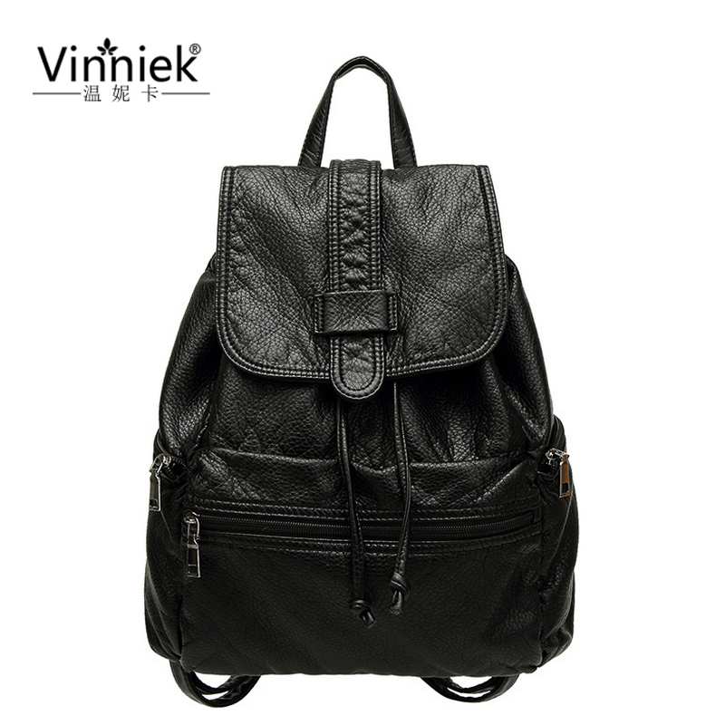 Vinniek Fashion Backpack Women Very Soft PU Leather Backpack Famous Brands Drawstring School Bag For Teenage
