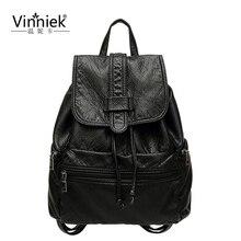 Vinniek мода рюкзак женщины очень мягкая искусственная кожа рюкзак известных брендов Drawstring школьная сумка для девочки подростка через плечо Сумки