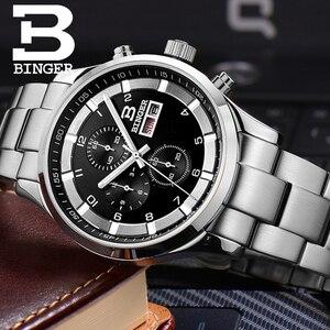 Image 3 - שוויץ גברים של שעונים ספיר BINGER שעון גברים מותג יוקרה קוורץ זכר שעון עמיד למים זוהר שעוני יד הכרונוגרף