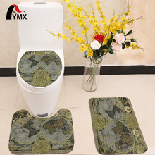 3pcs/set World Map Printing Toilet Seat Cover Flannel Fabric Toilet Case Bathroom Non-slip Mat Home Decoration Products pebble series flannel printing home anti slip absorbent entry mat bathroom mat door mat bedside mat