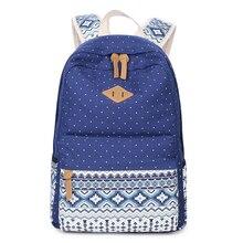 2017, Новая мода точка холст рюкзаки печать школьная сумка для девочек-подростков милая девушка случайный плечо школьная сумка дорожная сумка