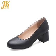 J&K Super Big Size 34-46 Elegant Thick Heels Round Toe Pumps Casual Leisure Street All Match Comfort Insole Fashion Shoes Woman