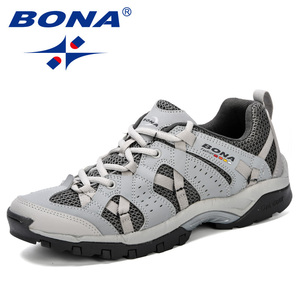 Image 2 - BONA Men Hiking Shoes Lace Up Men Sport Shoes Outdoor Jogging Trekking Sneakers Non Slip Wear Resistant Travel Shoes Comfortable