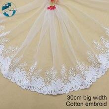 Listón bordado de algodón de 30cm de ancho para coser, tela de encaje guipur, suministro para manualidades, accesorios de boda, encaje africano #3186