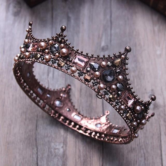 Vintage Crown With Black Rhinestones