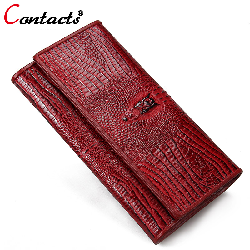 CONTACT'S women wallet Genuine Leather Wallet Female coin purse Clutch wallet Luxury Brand Card Holder phone Perse Crocodile Red sendefn luxury women wallets genuine leather designer brand long clutch purse party woman leather wallet female card holder coin