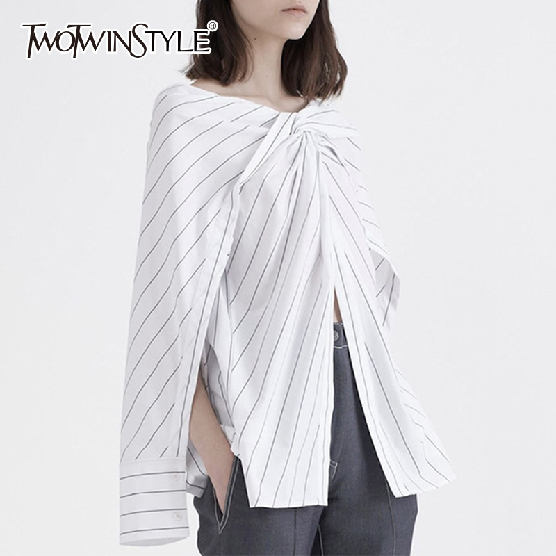 TWOTWINSTYLE Striped Shirt Womens Slash Neck Patchwork Ruched Irregular Blouse Female Spring Summer Fashion Big Size Clothing