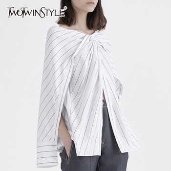 TWOTWINSTYLE Striped Shirt Womens Slash Neck Patchwork Ruched Irregular Blouse Female Spring Summer Fashion Big Size Clothing - Category 🛒 All Category