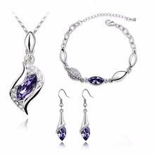 Удивительная цена элегантные роскошные новые модные разноцветные Австрийские кристаллы ожерелье серьги браслет Ювелирные наборы для женщин